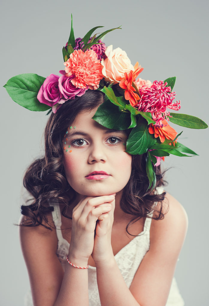 Girl with flower wreath in her hair